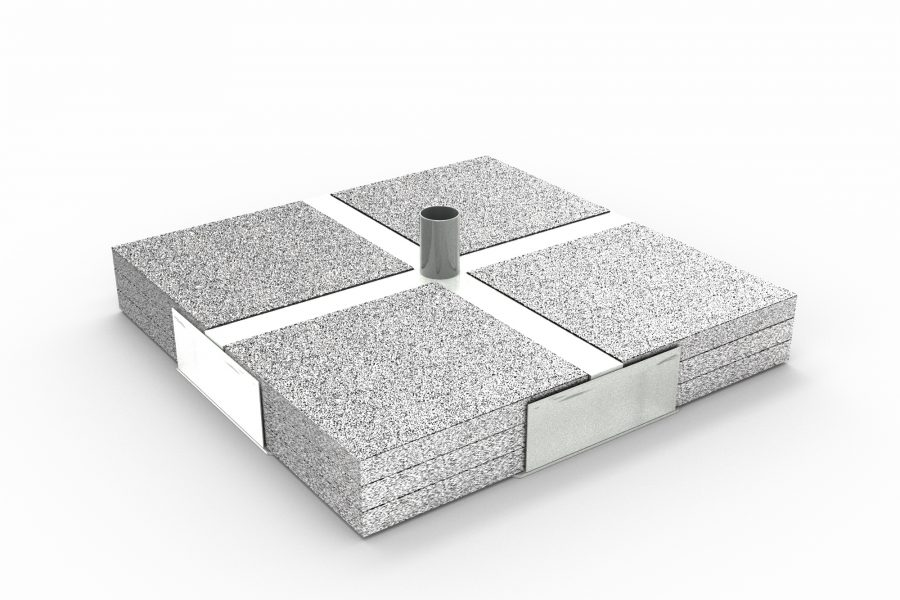 Iron base with grit tiles 87×87 cm