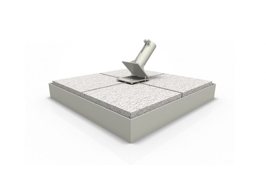 Iron base with pebble tiles