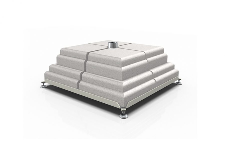 Iron base with 8 concrete weights set
