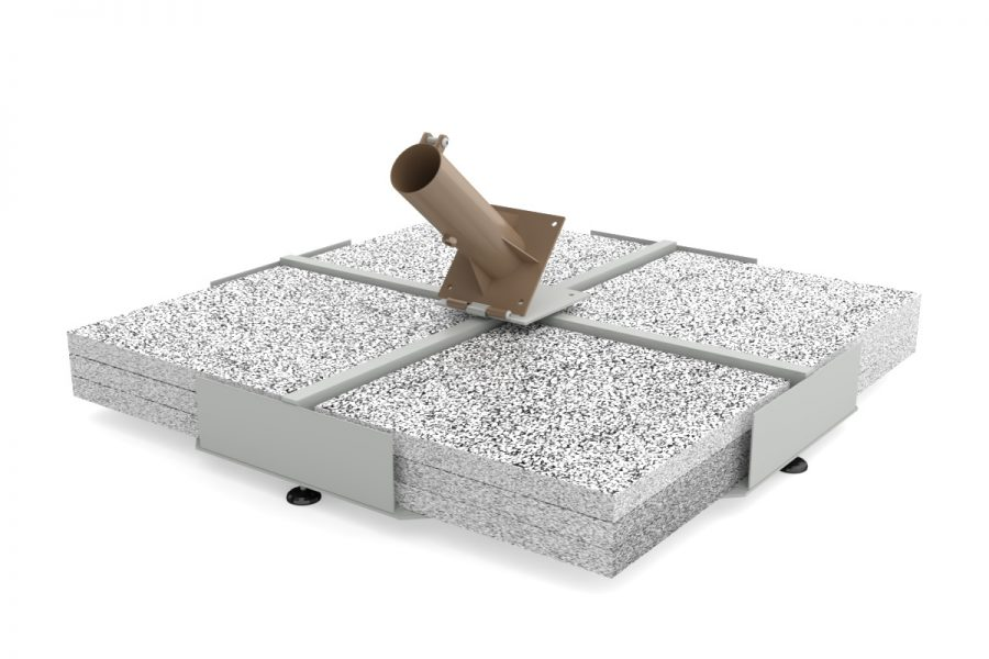 Iron base with pebble tiles 107×107 cm